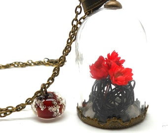 Necklace glass red bouquet Pearl spun charms and co.