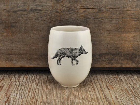 Handmade Porcelain wine tumbler with coyote drawing Canadian Wildlife collection