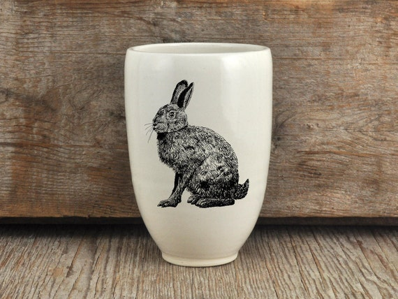 Handmade Porcelain beer tumbler with hare drawing Canadian Wildlife collection