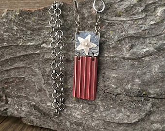 Americana pendant, red and blue flag, riveted layered silver necklace