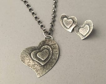 Rustic silver heart necklace and earrings set, handmade chain
