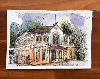 Philatelic Museum.Urban sketch.Singapore watercolour.Watercolor Painting.Office Art Print. Contemporary Art.