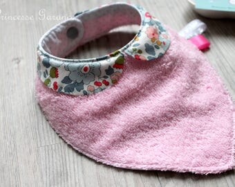Bandana bib, Peter Pan collar, Liberty of London Mauvey pink sponge, in STOCK