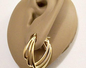 Monet Layered Open Rib Hoops Pierced Earrings Gold Tone Vintage Large Oval Flat Band Graduated Wide Dangles Surgical Steel Posts