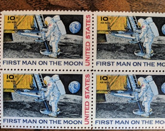 Block of Four First Man On The Moon 1969 10 Cent Stamps, Unused Postage Stamps