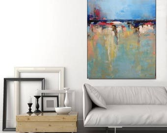 Abstract Art Large Original Art, Wall Art Canvas Modern Blue Abstract Painting, Blue Living Room Art Vertical Wall Art Artwork, Christovart