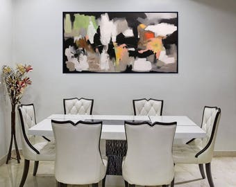 Modern Painting Original Large Abstract Art Black And White Wall Art/ Acrylic Painting On Canvas/ Living Room Abstract Painting, Christovart