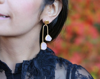 ROSE QUARTZ Double STONE earrings/Gold Plated / Gifts for her