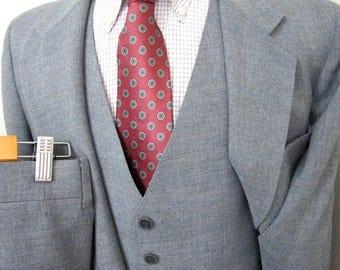 Vintage 3pc Plaid Suit sz 40 S ~ WEDDING