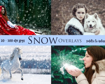 20 Winter Flurry Snow Overlays 300dpi JPG for your Photography