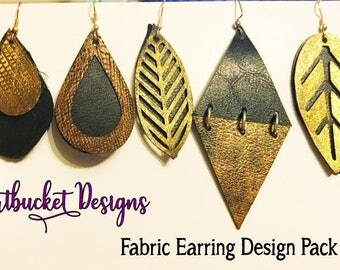 7 Stacked Leather/Fabric Earring Designs Pack-SVG-Jewelry Making- DXF - EPS