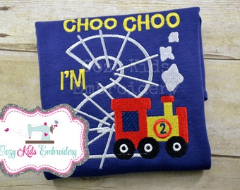 Train Birthday Shirt, Boy's birthday Shirt, Birthday Shirt, Custom Train Shirt, Choo Choo Shirt, I'm 2 Shirt, I'm Two Shirt