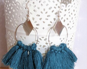 Earrings ' hoop earrings Silver 925 diamond geometric teal tassel