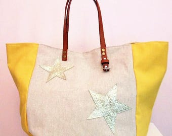 Designer Tote in beige linen Twine and yellow canvas, Silver Star, camel leather handles