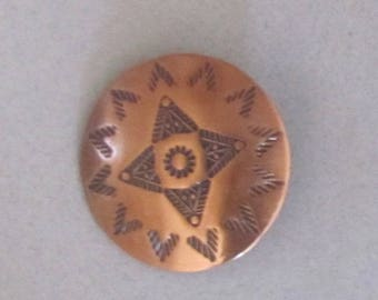 Copper Button With Native American Stamped Designs