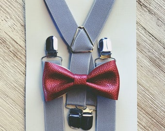 Cranberry Bow Tie Suspenders Ring Bearer Outfit Wedding Suspenders Baby Suspenders Boys Suspenders Baby Braces
