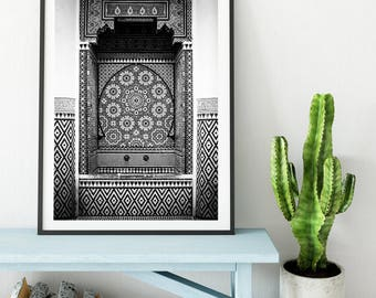 Photography + Black Frame - Zellige Fontain - Marrakech - Morocco - Wall decoration - Travel