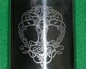 Mjolnir Hip Flask Tree of Life Thor's Hammer Engraved Viking Celtic Yggdrasil