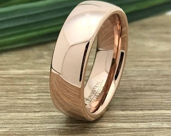 7mm Rose Gold Plated Tungsten Ring, Engraved Custom Date Ring, Roman Numeral Ring, Coordinates Ring, Wedding Date Ring, Couple Promise Ring