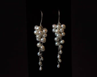 Freshwater pearl and sterling silver wedding wire-wrapped waterfall earrings - Rebecca