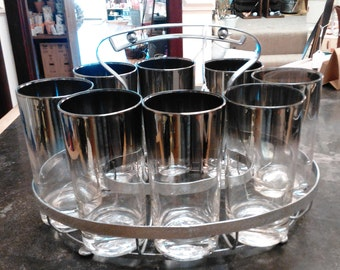 Vintage Mid Century Mod Dorothy Thorpe Style Tumblers and Caddy!