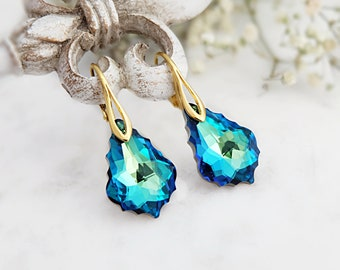 Turquoise earrings, Swarovski earrings, Vintage earrings, Crystal wedding earrings, Sterling Silver victorian earrings, Blue gold earrings