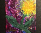 "108 Intentions Project #3 - ""Shine"", Flower, Dandelion, Peace, yoga artwork, yoga art, artist trading card, home decor, mixed media, yoga"