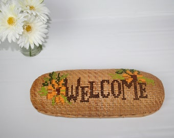 Vintage Cross stitch Embroidered Wicker Basket. Welcome, Sunflowers. Wall hanging