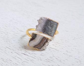 Purple Druzy Ring, Amethyst Slice Ring, Raw Amethyst Ring, Gemstone Ring, Gold Stone Ring, Adjustable Ring, Statement Ring, Boho Ring, R3-83