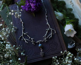 Twig Necklace with Labradorite Bead and Pinecone Charm