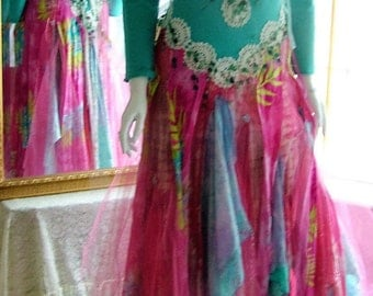 Size 5 - 8. Pink aqua tattered romany bohemian boho funky shabby chic beach outdoor engagement renaissance wedding dress