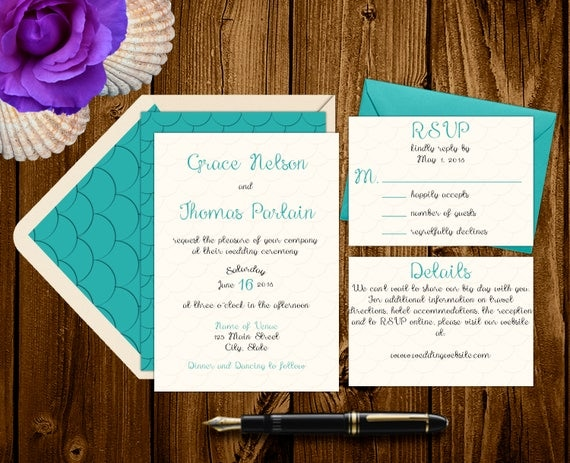 Sea Foam Wedding Invitation Suite Beach Wedding Mermaid