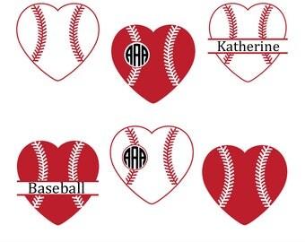 baseball heart svg, baseball svg, Baseball Monogram Svg, Softball Svg, Baseball Heart Cut File, Baseball Silhouette, Cricut Files, svg, dxf.