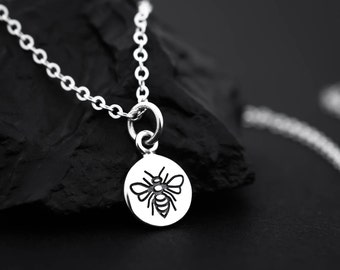 Bumble Bee Necklace, Bumblebee Necklace, Silver Bee Necklace, Honeybee Necklace, Bumble Bee Jewelry, Bee Jewelry, Tiny Bee Necklace