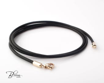 Black Leather Cord Necklace 14K Gold Clasps Gold Leather Cord Necklace for Man Solid Gold Lobster Clasps Leather Cord BloomDiamonds