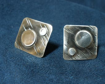 Sterling Silver Square Textured Earrings with Silver Disks
