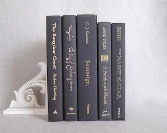 Black Decorative Books Set, Book Bundle, Home Staging, Wedding Centerpiece, Black Decor, Designer Colors, Gold Titles, Stack of Books