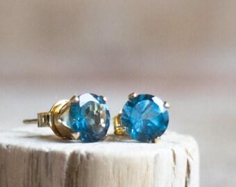 London Blue Topaz Stud Earrings in Silver, London Blue Topaz Ear Studs, November Birthstone, Topaz Ear Studs, Real Blue Topaz Earrings
