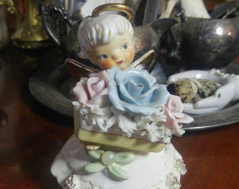 SALE!!! Vintage Lefton JUNE Angel Mid-Century 1950's Birthday Month Rose Pearl Porcelain Figurine Collectible
