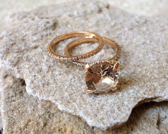 Unique engagement ring Rose Gold Morganite Engagement Ring Diamonds Wedding Ring Set Bridal engagement ring promise ring rose gold Unique