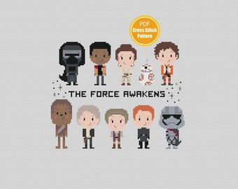 Star Wars Cross stitch Pattern - PDF file Instant Download - The Force Awakens - Kylo Ren - Rey - Finn - BB8 - Disney Cross stitch