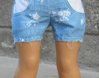 Blue/White Floral Cutoff Shorts for American Girl Dolls