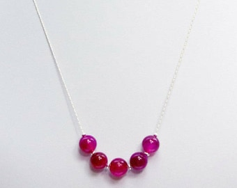 Fuchsia pink gemstone necklace, sterling silver beaded gemstone necklace, semi precious gemstone, dainty pink silver necklace, jewelry set