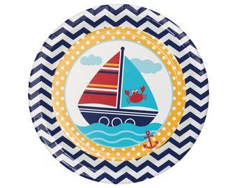 Nautical Plates - Sailboat Plates - Nautical Birthday - Nautical Baby Shower - Anchor Baby Shower - Nautical Party - Ahoy Baby - Ocean Party