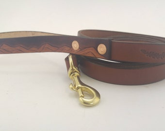 Mountain Dog Leash - Brown Leather Leash - Durable and Long Leash