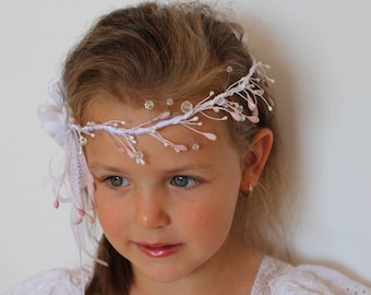 White blush pink flower wreath,White flower headband,Wedding baby girl tiara,Wedding flower girl headband,Flower girl halo,Girl Hair Wreath