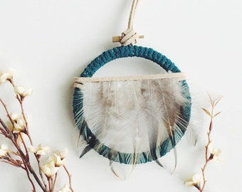 Rustic Wall Hanging Dreamcatcher - Modern Rustic Art - Modern Bohemian Dream Catcher - Boho Birthday Gift - Green Dreamcatcher Wall Hanging