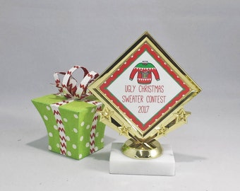 Ugly Sweater Contest Trophy - Christmas Award - Ugly Sweater Award - Free Engraving - Customizable