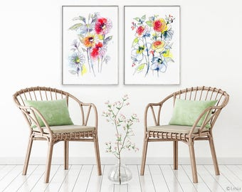 Watercolor painting, bright floral, print set of 2, flower painting, flower art print, flower wall décor, flower art, watercolor flower