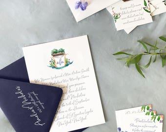 Watercolor New York City Monogram Invitation, Loeb Boathouse Monogram Invitation, Central Park Invitation, Watercolor Invitation - DEPOSIT